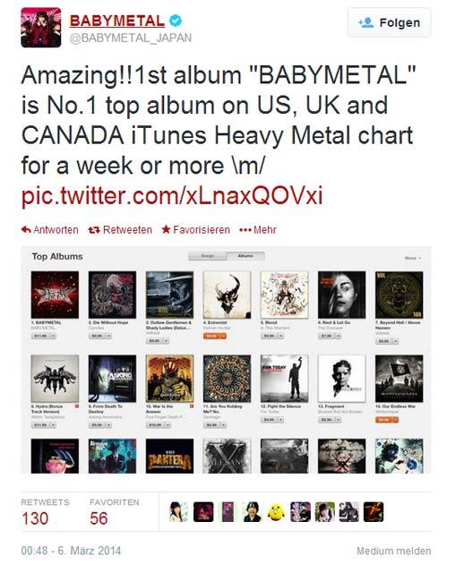 Babymetal sind No.1 in USA, Canada, UK