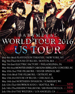 Poster Babymetal World Tour 2016